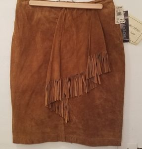 Vintage with tags suede fringe skirt